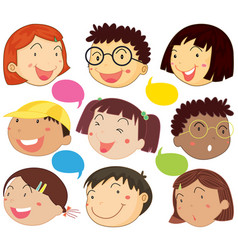 boys and girls with happy face vector image