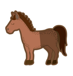 Brown clear silhouette of cartoon horse standing vector