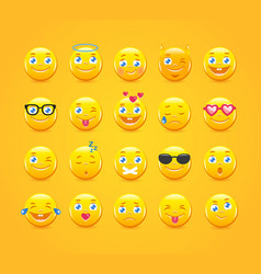 Cartoon emoticons emoji icons yellow smiles vector