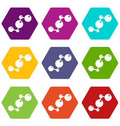 chemical and physical molecules icon set color vector image