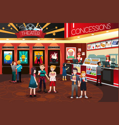 Children going to watch movies vector