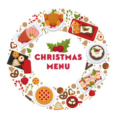 christmas menu in circle cafe or restaurant food vector image