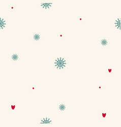 christmas seamless pattern of snowflakes hearts vector image