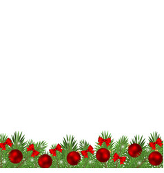 christmas tree branches decorated with balls vector image