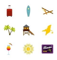 City Miami icons set flat style vector