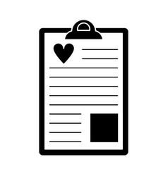 clipboard heart report pictogra vector image