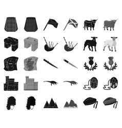 Country scotland blackmonochrome icons in set vector