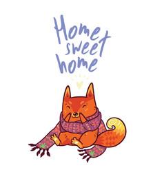 Cute baby fox in cozy ornament scarf winter vector