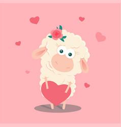 cute cartoon sheep with a heart vector image