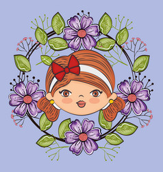 Cute girl head character with floral frame vector