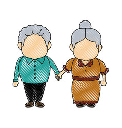 cute grandpa and grandma parents standing together vector image