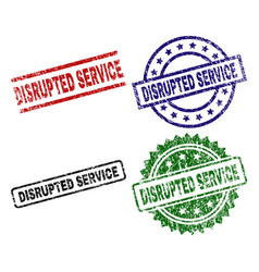 Damaged textured disrupted service seal stamps vector