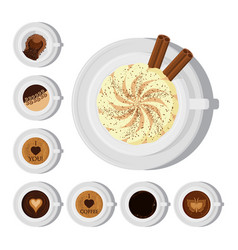 different types of coffee chocolate cocoa cups top vector image