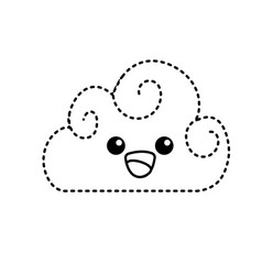Dotted shape kawaii cute happy cloud weather vector