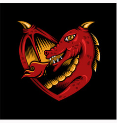 dragon love vector image