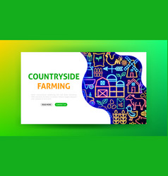 Farming neon landing page vector