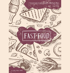 fast food retro grunge advertising card vector image