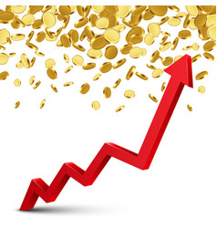 Finance growth chart arrow with gold coins vector