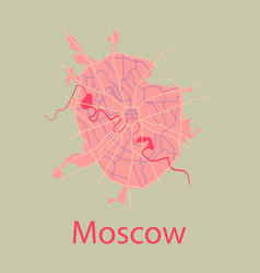 Flat color map of moscow all objects are located vector