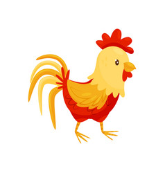 Flat icon of rooster with red-orange vector