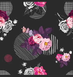 Floral seamless pattern with bunches of wild rose vector