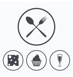 Food icons Muffin cupcake symbol Fork spoon vector image