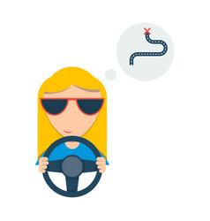 Girl in the car vector