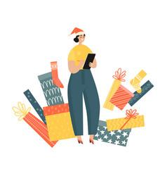 girl makes a list gifts for christmas vector image