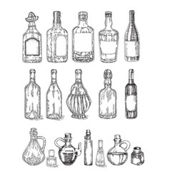 Glass jars and bottles sketch vector