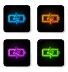 glowing neon battery icon isolated on white vector image