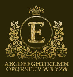 golden encrusted letters and initial monogram vector image