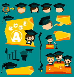 Graduation Infographic and Mascot vector