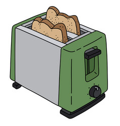 green and steel electric toaster vector image