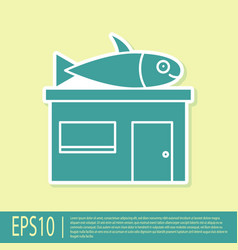 Green seafood store icon isolated on yellow vector