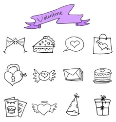 Hand draw of valentine icons vector image