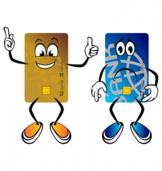 happy and sad credit cards vector image