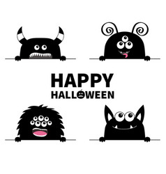Happy halloween monster scary face head icon set vector