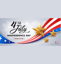 happy independence day flag america golds stars vector image