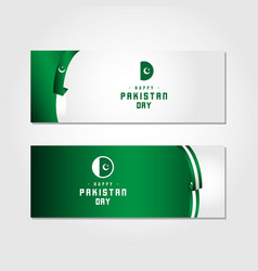 Happy pakistan day template design vector