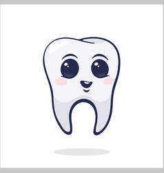 happy smiling healthy bahuman tooth with eyes vector image