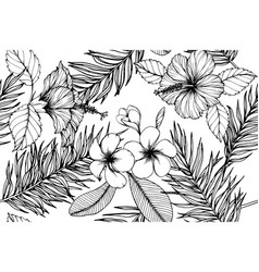 hawaiian tropical leaves pattern seamless vector image