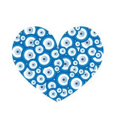 Heart with blue evil eyes - evil eye card vector
