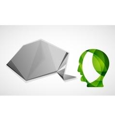 Human head with origami blank speech bubble vector