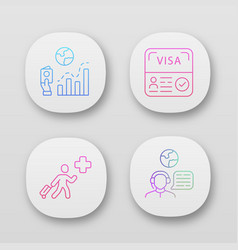 Immigration app icons set migration rate start up vector