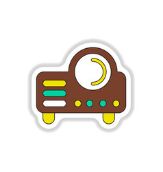 In paper sticker style retro vector