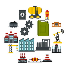 industry set flat icons vector image