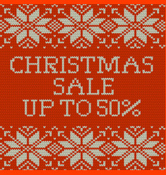 Knitted christmas sale template banner eps 10 vector