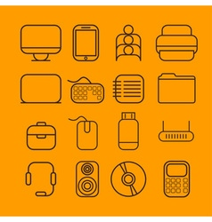 line craft icons for business with computer theme vector image