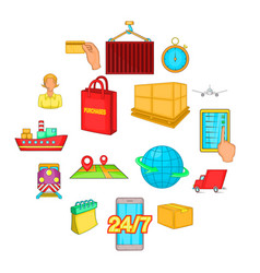 logistics icons set cartoon style vector image