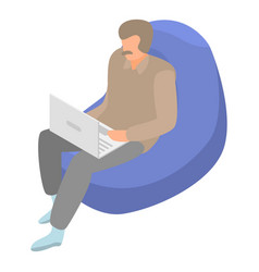 man at armchair icon isometric style vector image